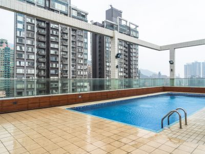 hotel top swimming pool with residential apartments background,hong kong,china.
